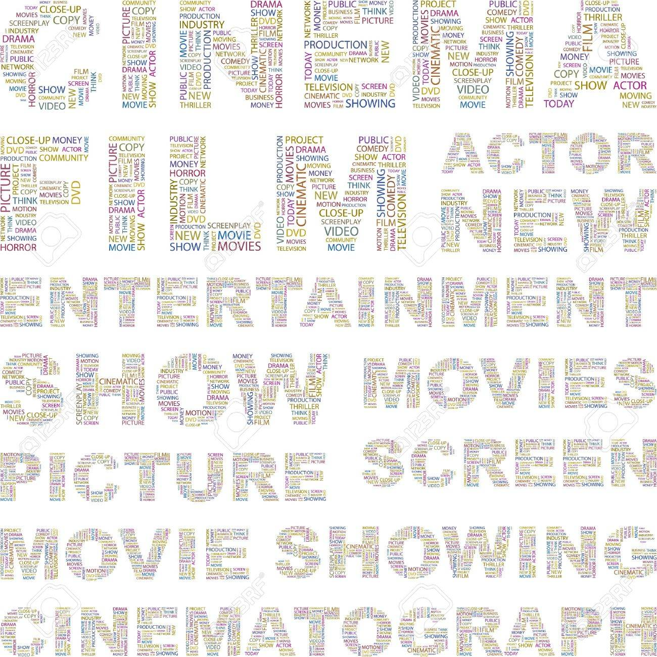 CINEMA. Illustration with different association terms. Stock Vector - 8947938