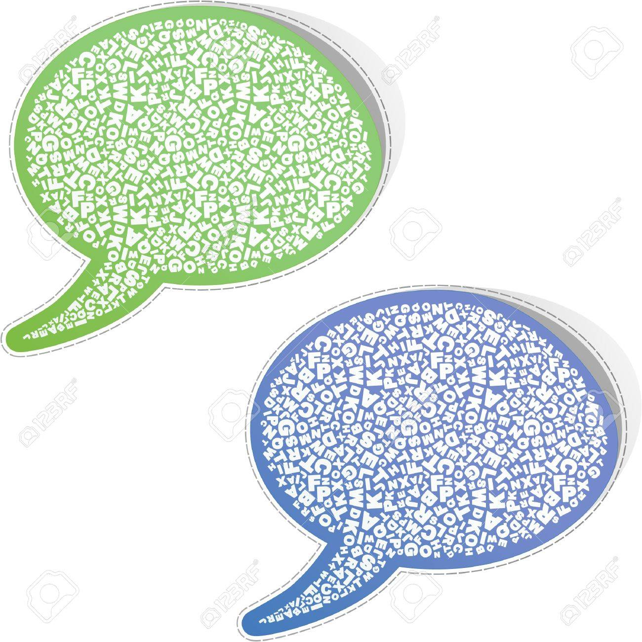 Speech bubble. Sticker with letter mix. Stock Vector - 8954364