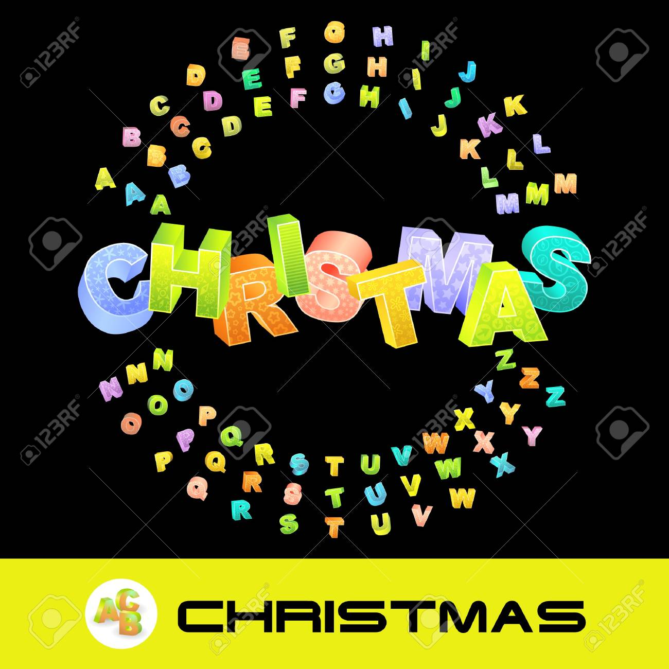 CHRISTMAS. Vector 3d illustration with colored alphabet. Stock Vector - 9021974