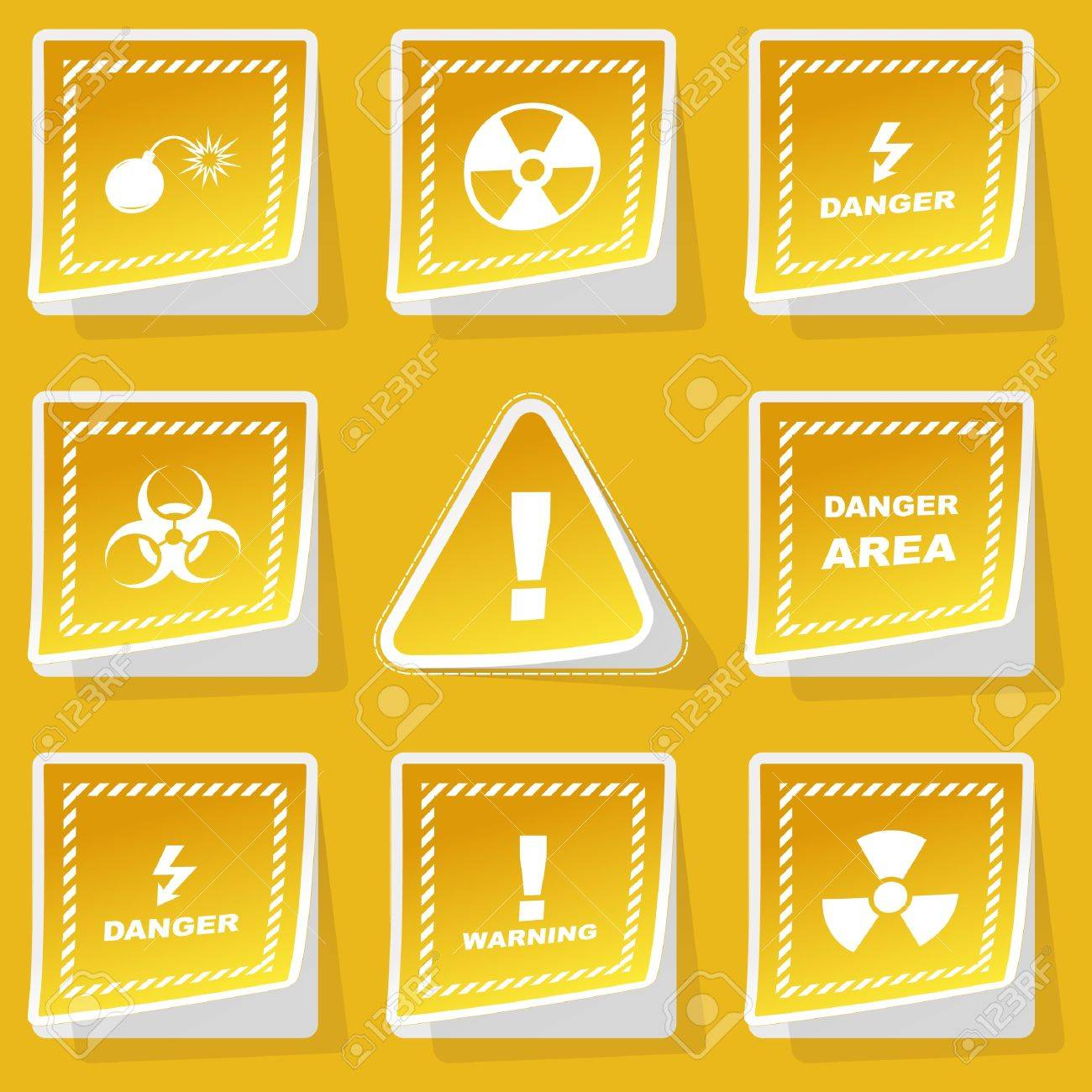 Warning vector sticker set. Stock Vector - 9022004