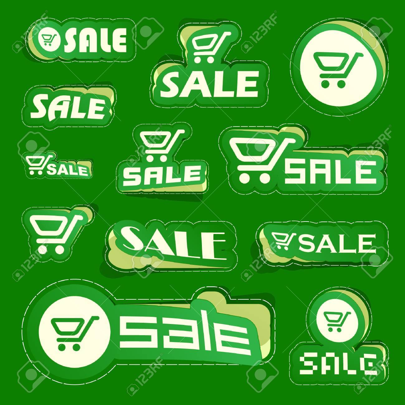 SALE. Shopping cart. Vector sticker set. Stock Vector - 9022021