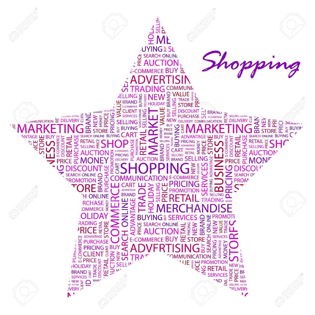 SHOPPING. Word collage on white background Stock Vector - 9400974