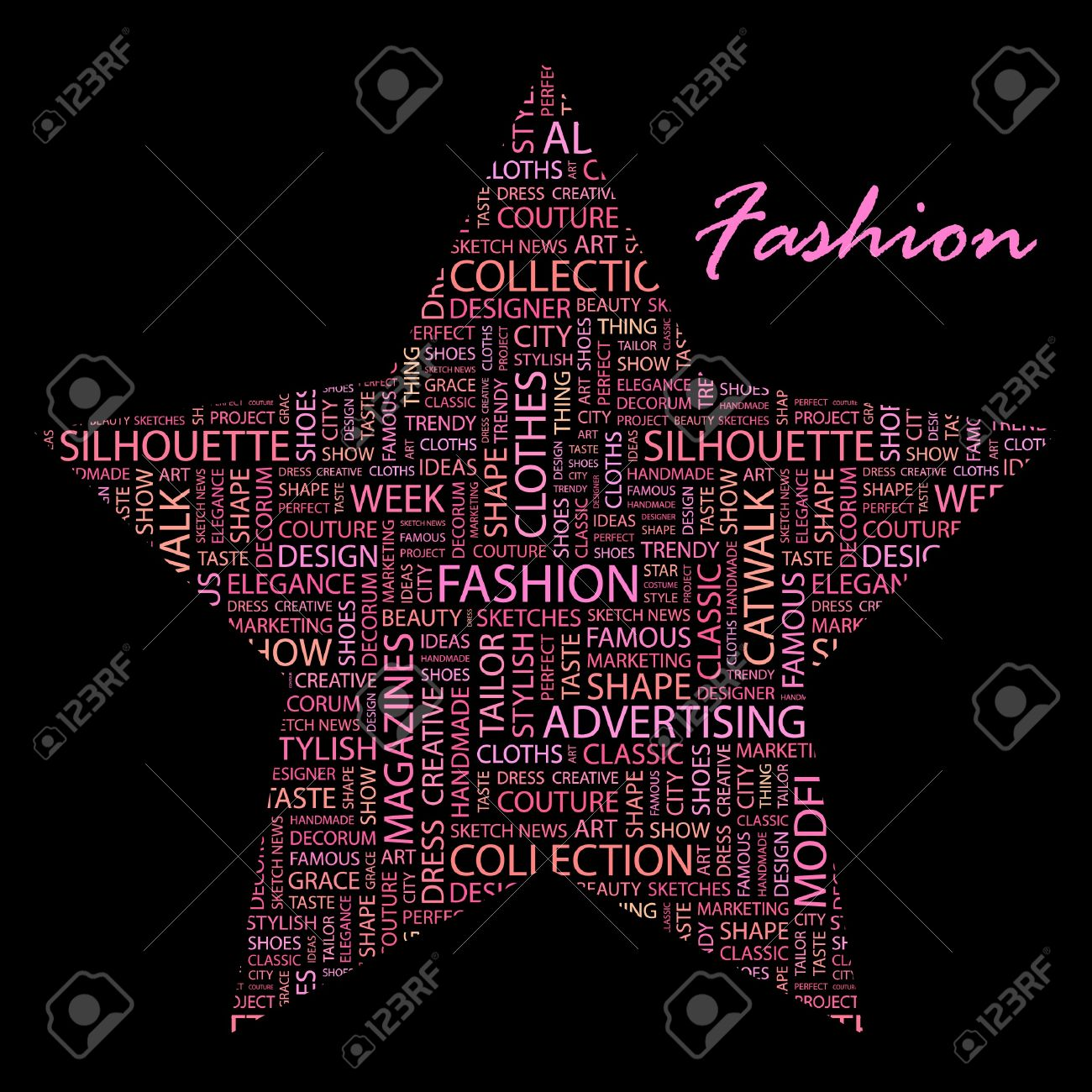 Fashion Word Collage On Black Background Royalty Free Cliparts