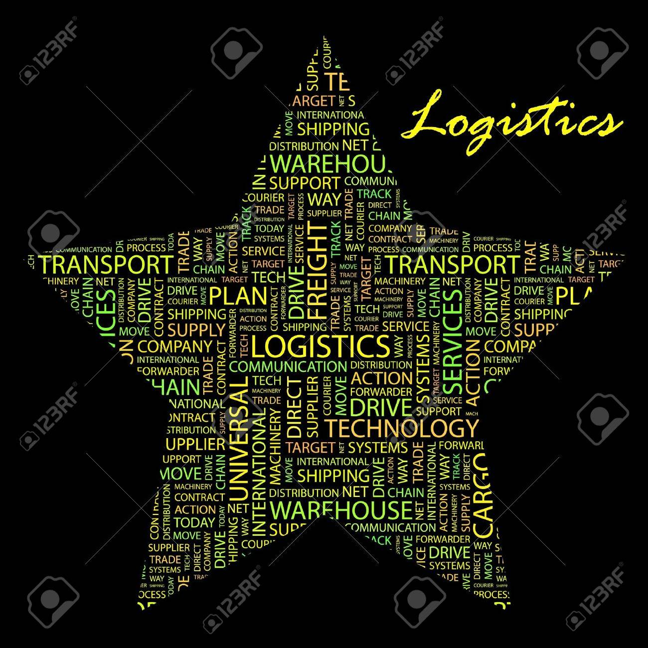 LOGISTICS. Word collage on black background. Vector illustration. Illustration with different association terms. Stock Vector - 9904491