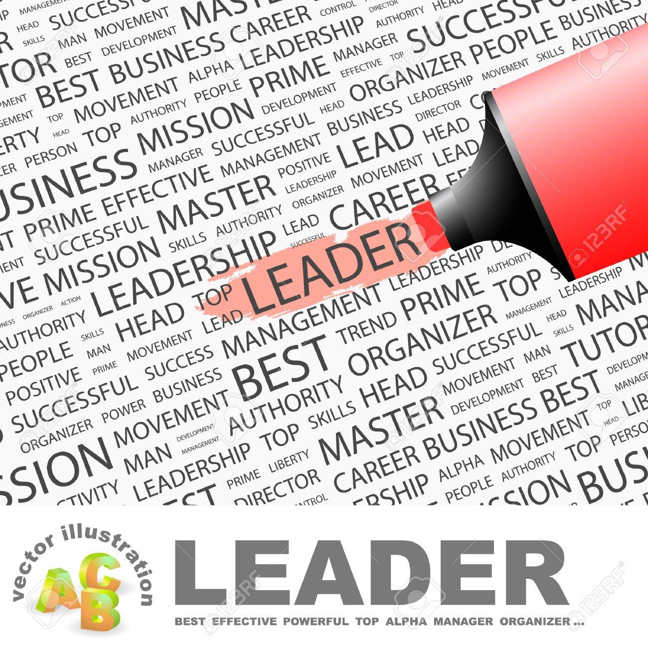 LEADER. Highlighter over background with different association terms. Vector illustration. Stock Vector - 9409307
