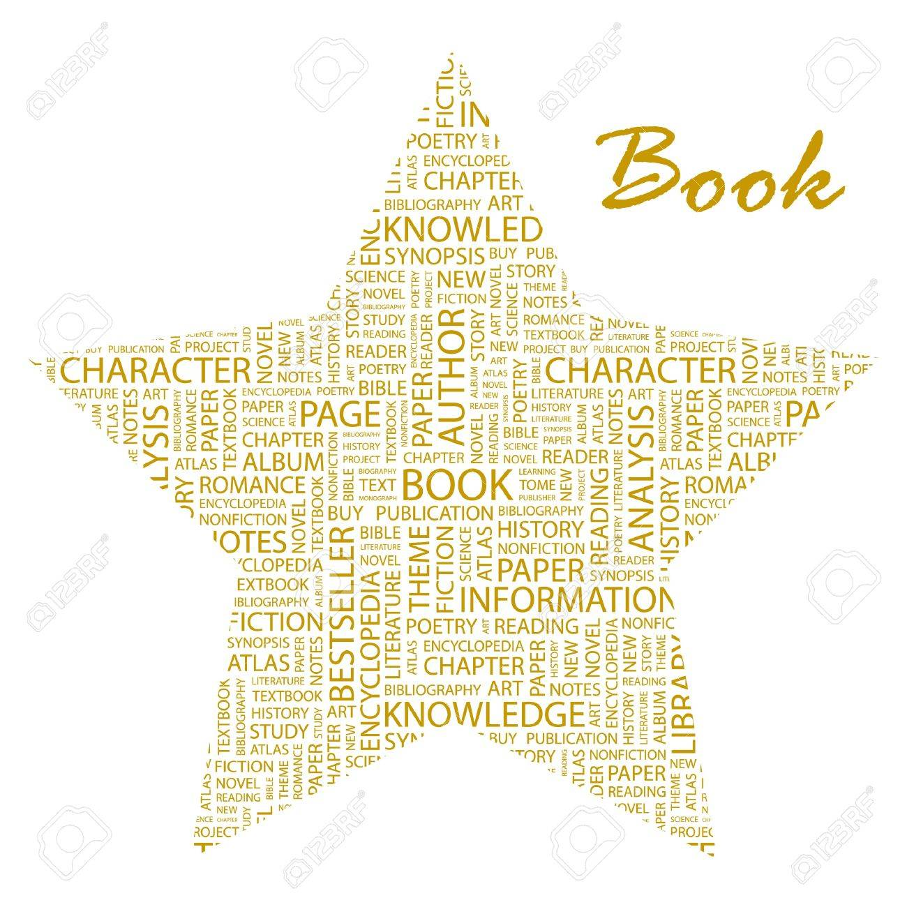 BOOK. Word collage on white background. Vector illustration. Illustration with different association terms. Stock Vector - 9409227
