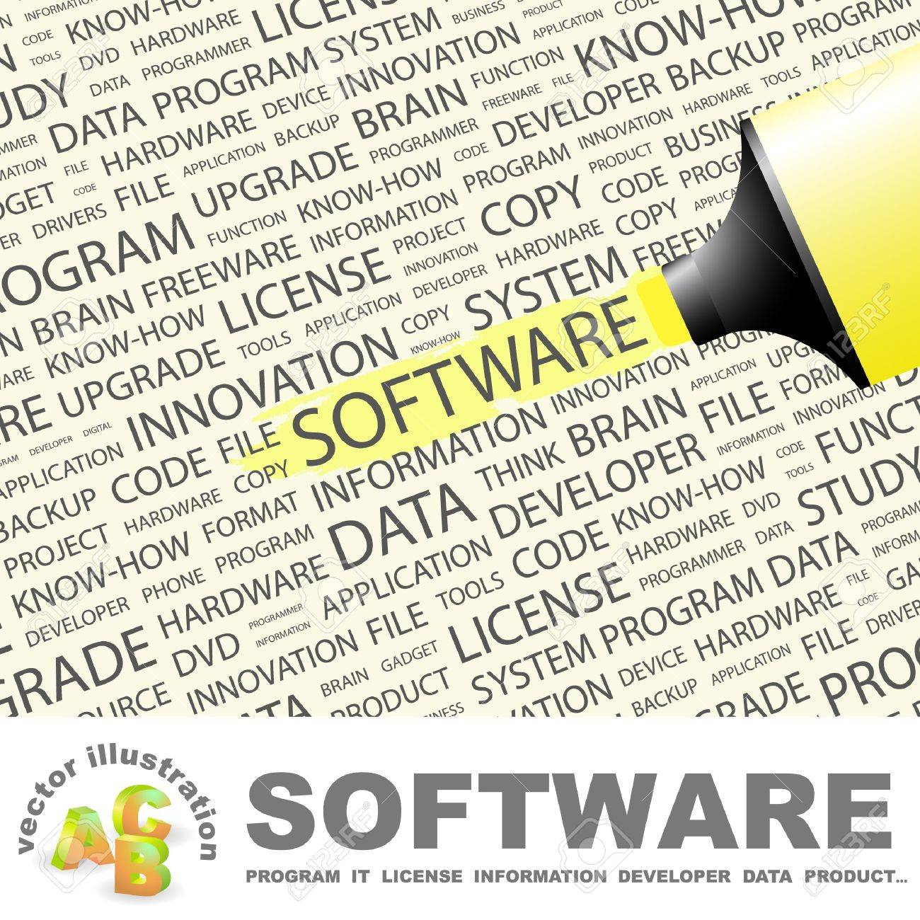 SOFTWARE. Highlighter over background with different association terms. Vector illustration. Stock Vector - 9409310