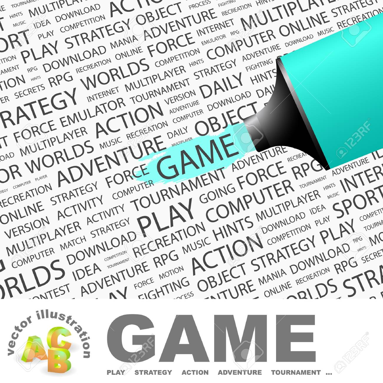 GAME. Highlighter over background with different association terms. Vector illustration. Stock Vector - 9409277