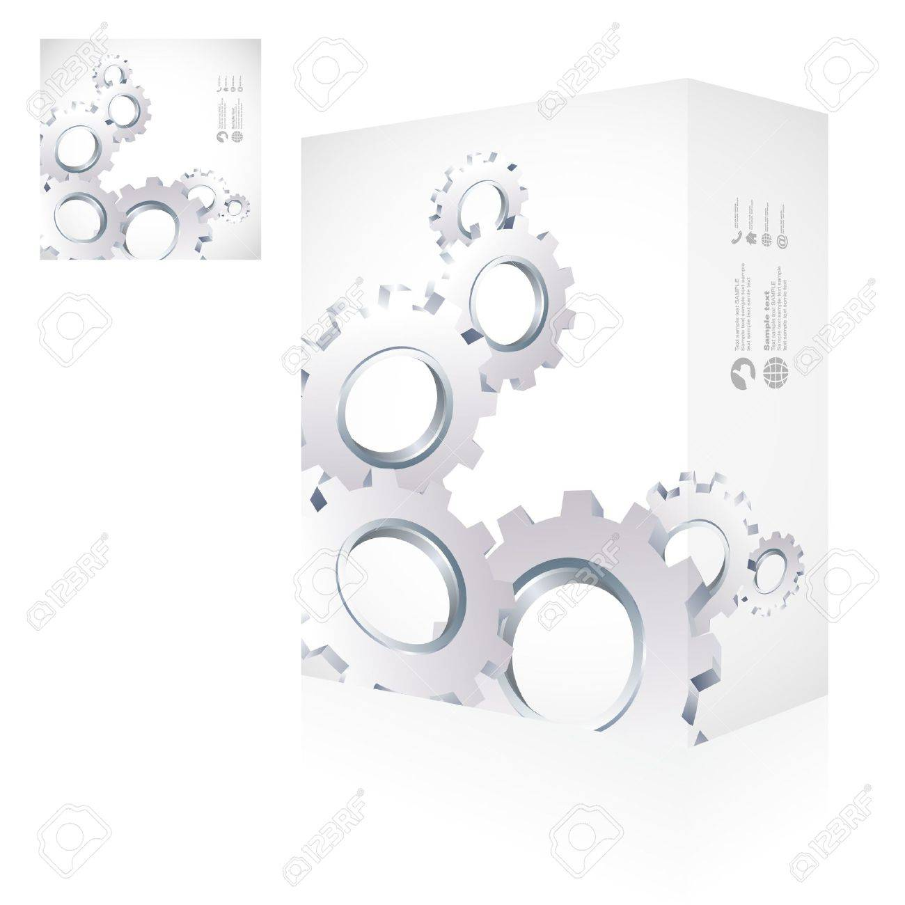 Gears. Vector packaging box. Abstract illustration. Stock Vector - 9409195