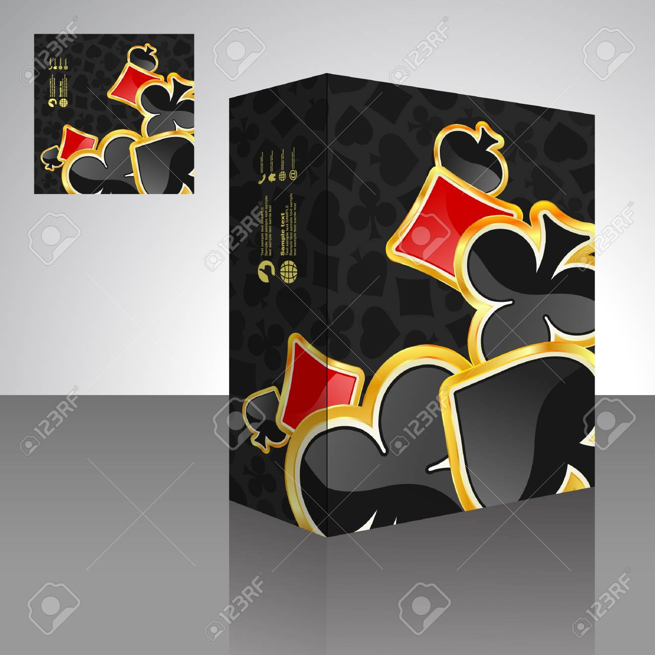 Vector packaging box with card suits. Stock Vector - 9409185