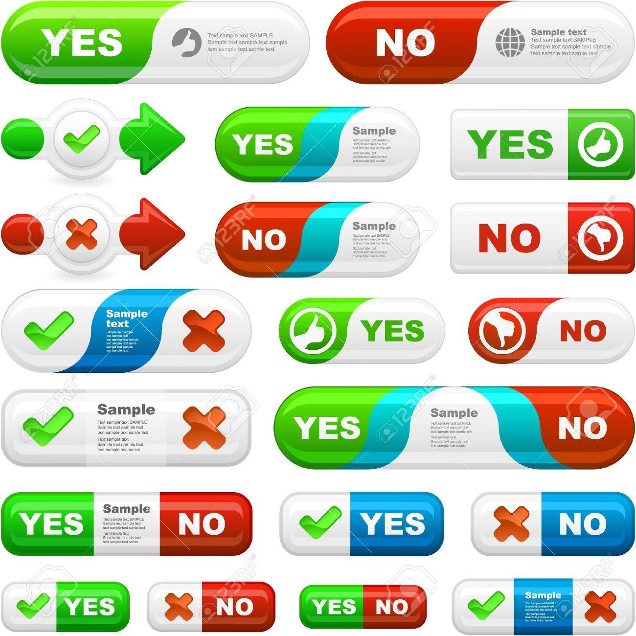 YES and NO. Vector beautiful icon set. Stock Vector - 10066905