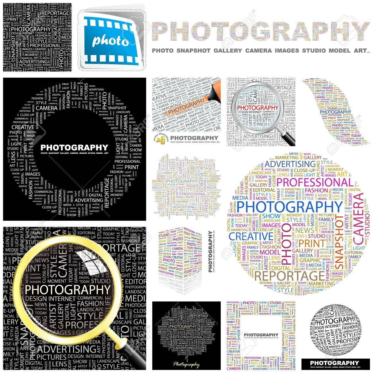 PHOTOGRAPHY. Word collage. GREAT COLLECTION. Stock Vector - 11269214