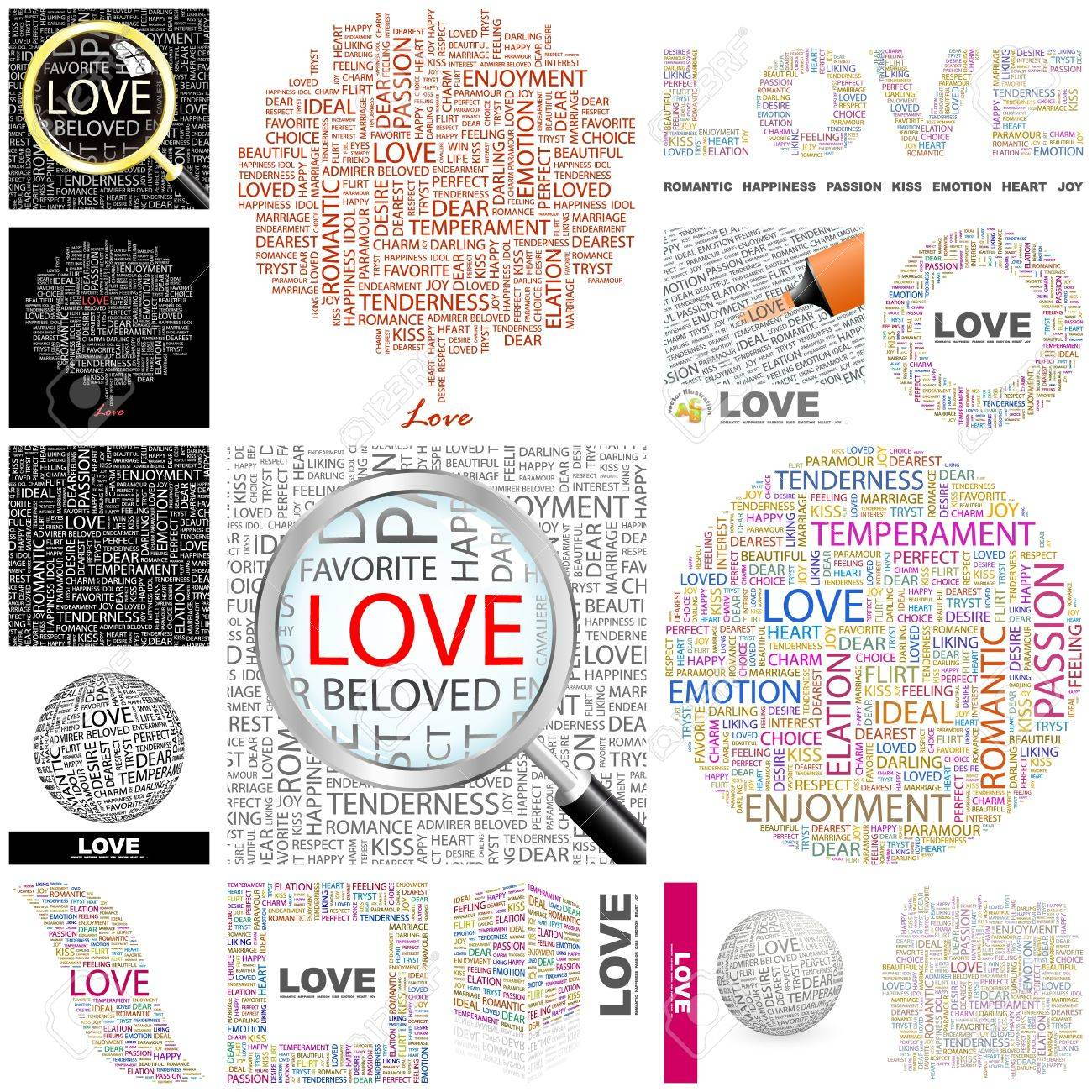 Love Word Collage Great Collection Stock Vector