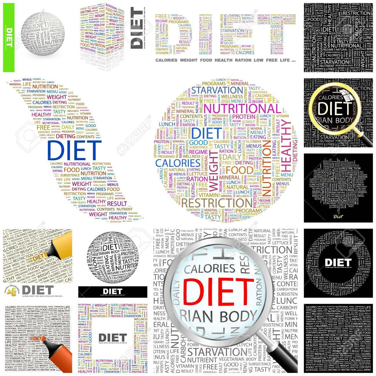 DIET. Word collage. GREAT COLLECTION. Stock Vector - 11269222