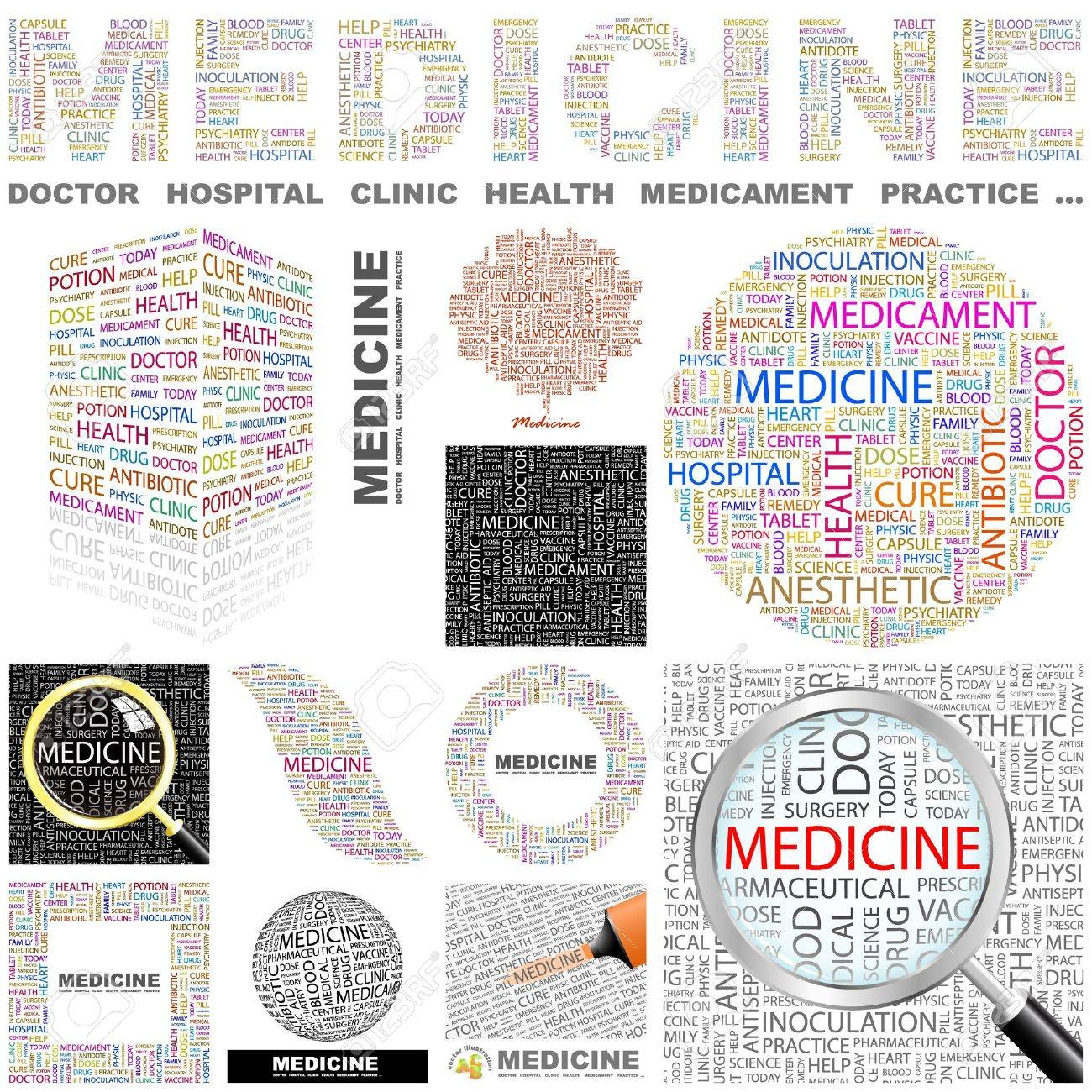 MEDICINE. Word collage. GREAT COLLECTION. Stock Vector - 11269201