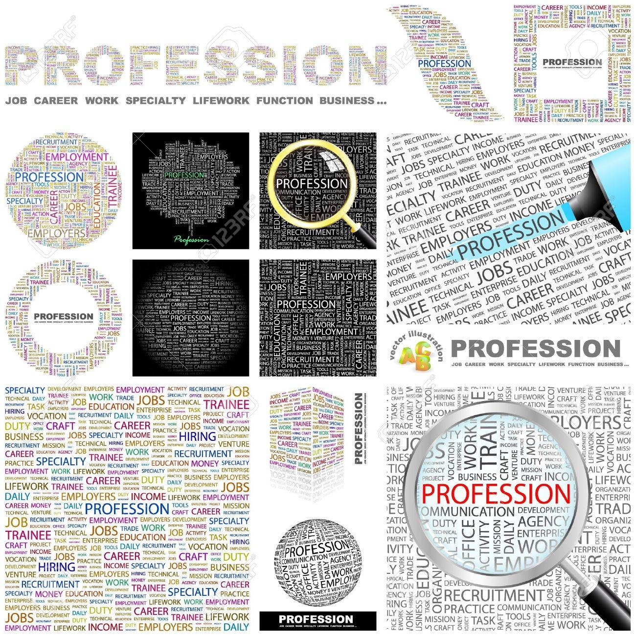 PROFESSION. Word collage. GREAT COLLECTION. Stock Vector - 11269203