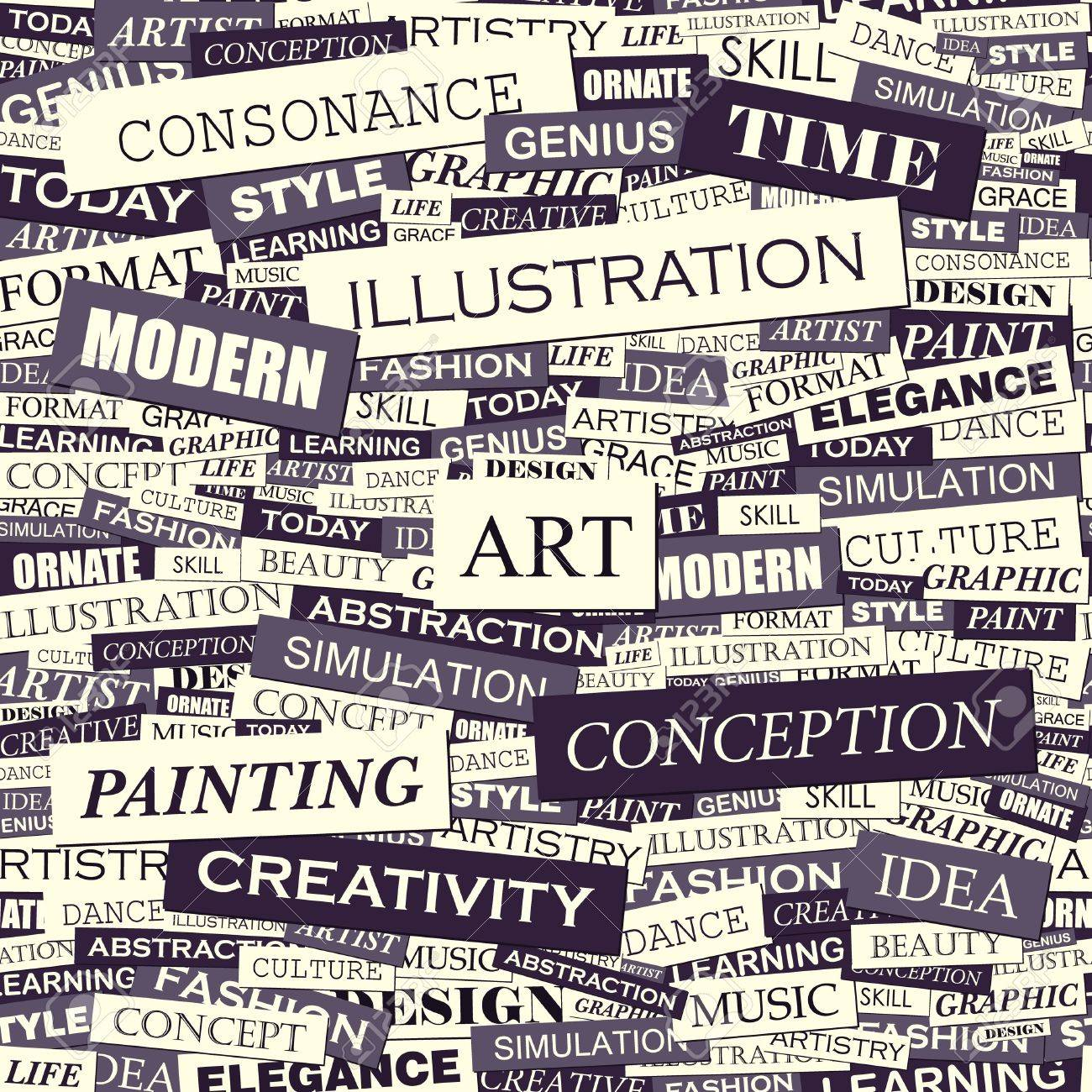 ART  Word collage  Seamless vector pattern Stock Vector - 16709500