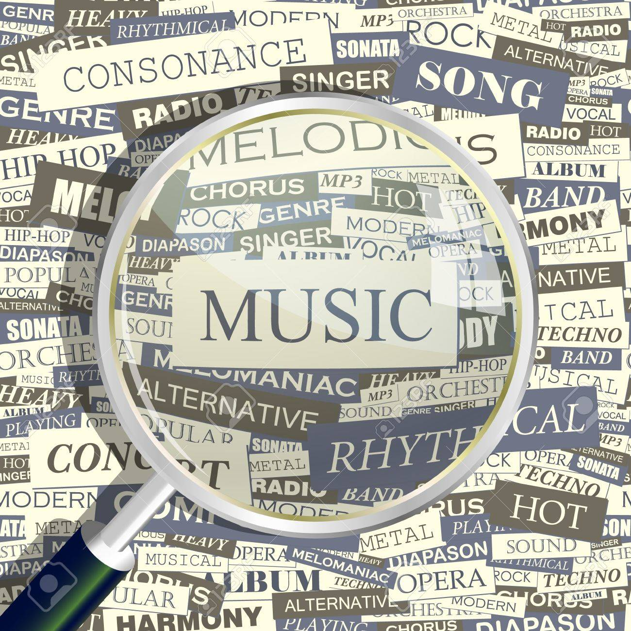 MUSIC  Magnifying glass and seamless background Stock Vector - 15176575
