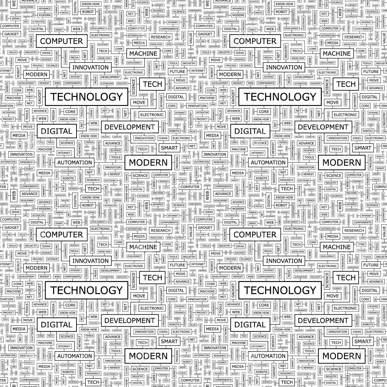 TECHNOLOGY  Word collage  Seamless pattern Stock Vector - 17430954
