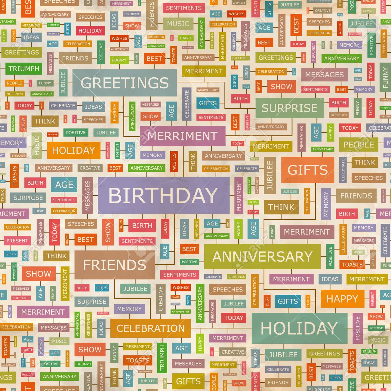 BIRTHDAY Word Collage Seamless Vector Pattern Royalty Free ...