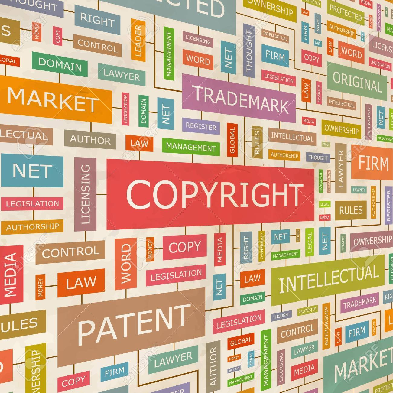 COPYRIGHT  Word collage Stock Vector - 18375762