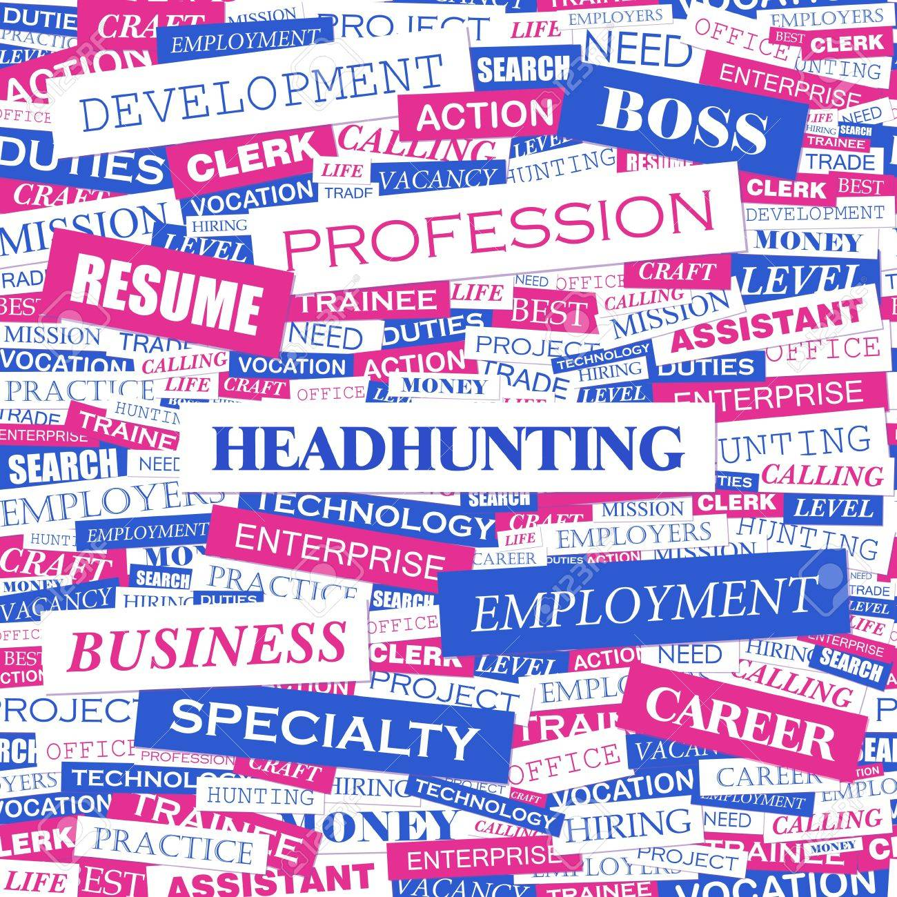 HEADHUNTING  Word cloud concept illustration Stock Vector - 20221747