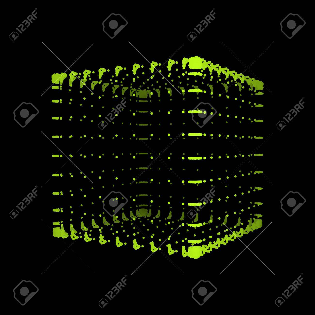 Würfel. Der Cube, Bestehend Aus Punkten. Verbindungsstruktur ...