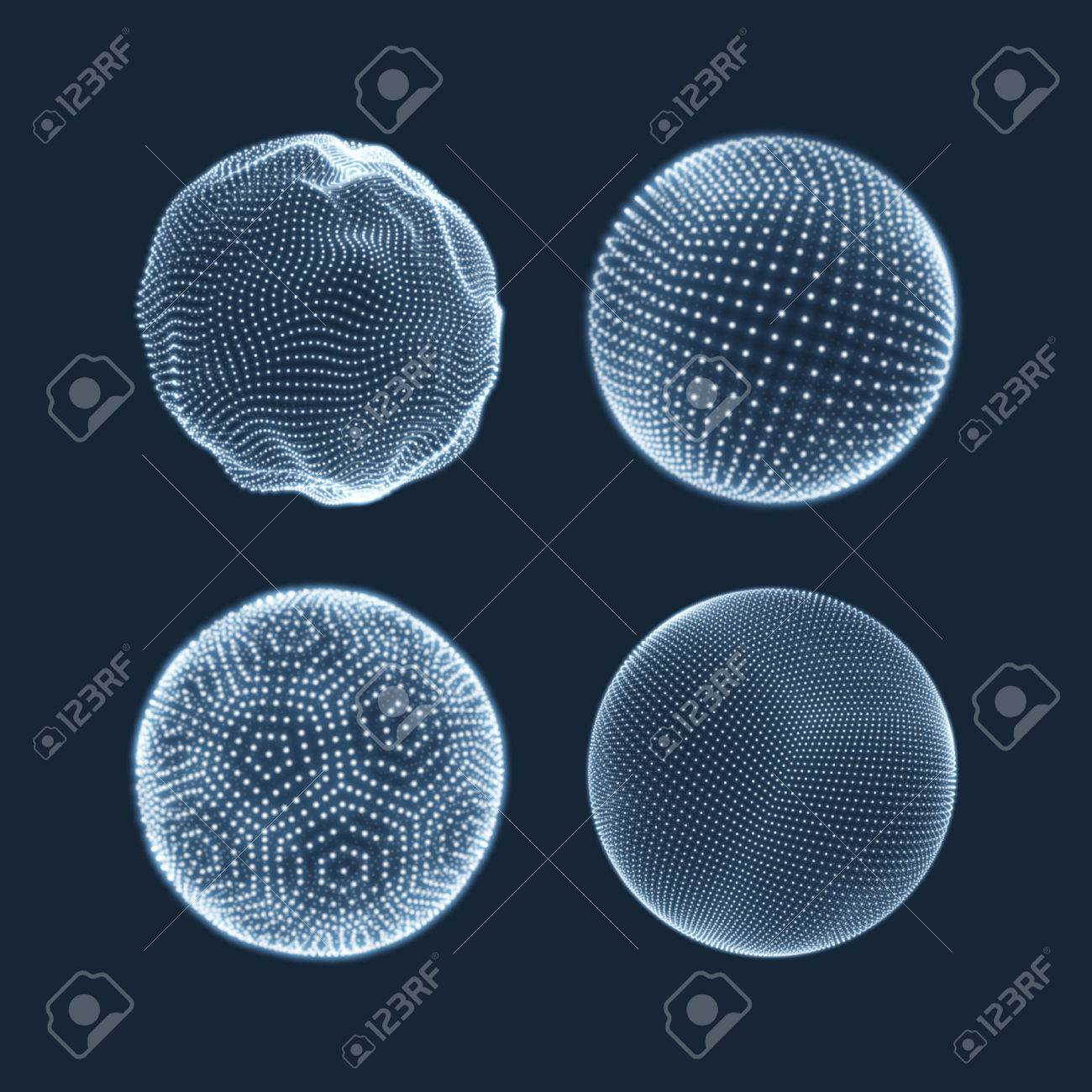 The Sphere Consisting of Points. Abstract Globe Grid. Sphere Illustration. 3D Grid Design. 3D Technology Style. Networks - Globe Design.Technology Concept. Vector Illustration. - 54293910