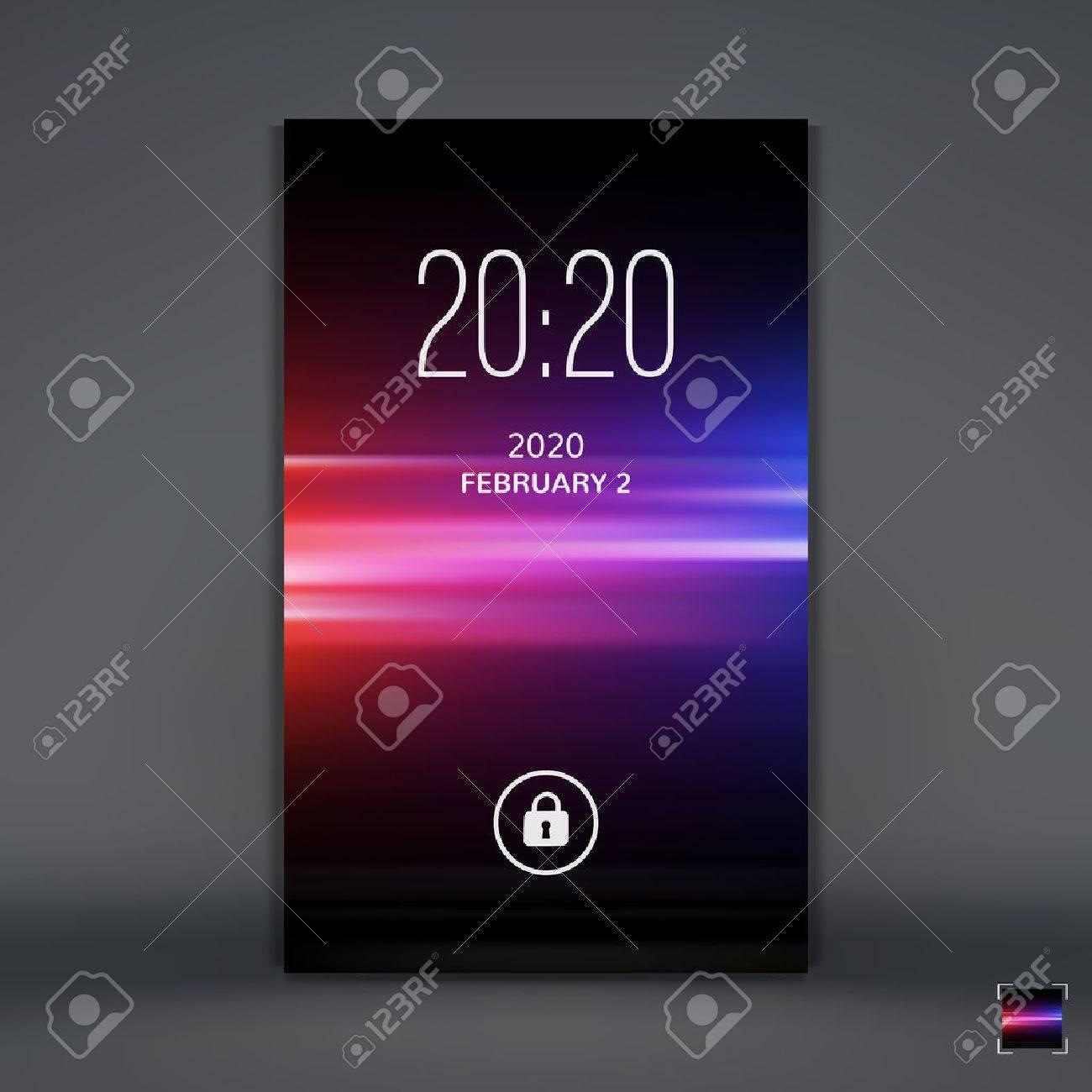 モバイルアプリのモダンなロック画面 携帯電話の壁紙 ベクトルの図 のイラスト素材 ベクタ Image