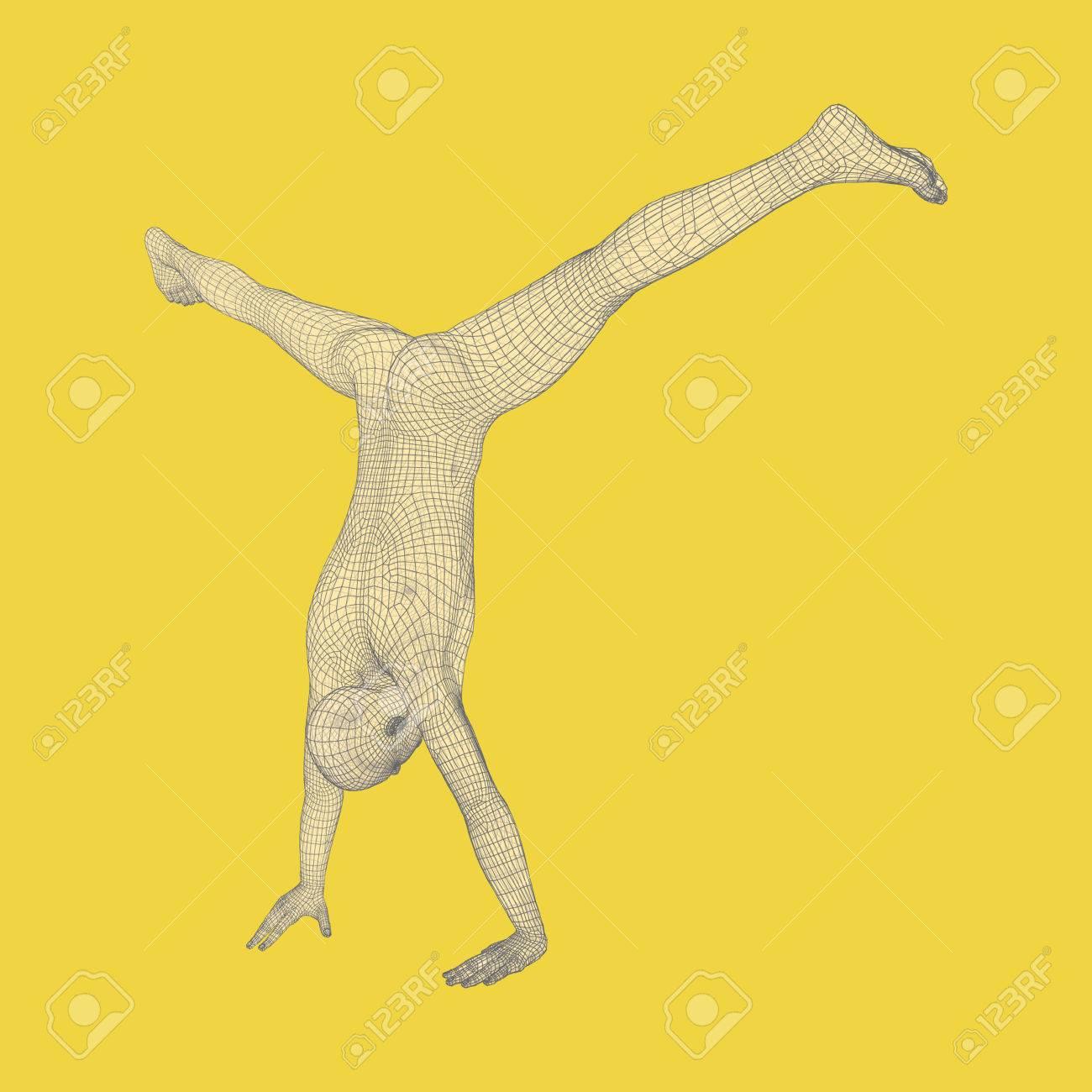 Gymnaste. Modèle 3D de l homme. Modèle de corps humain. Activités de  gymnastique pour la santé des icônes et la forme physique. 6428950e9a1