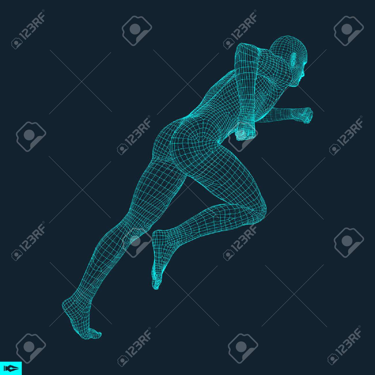 3d Running Man. Design for Sport, Business, Science and Technology. Vector Illustration. Human Body. - 69761888