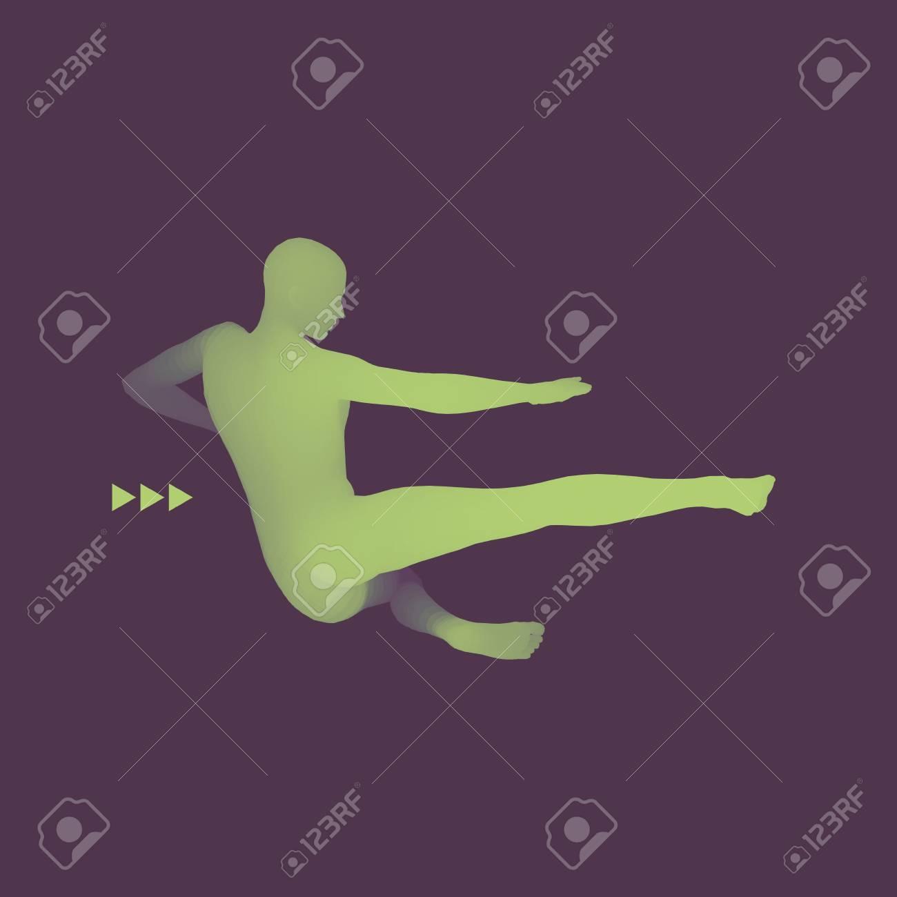 Fighter  Sports concept  3D Model of Man  Human Body  Sport Symbol