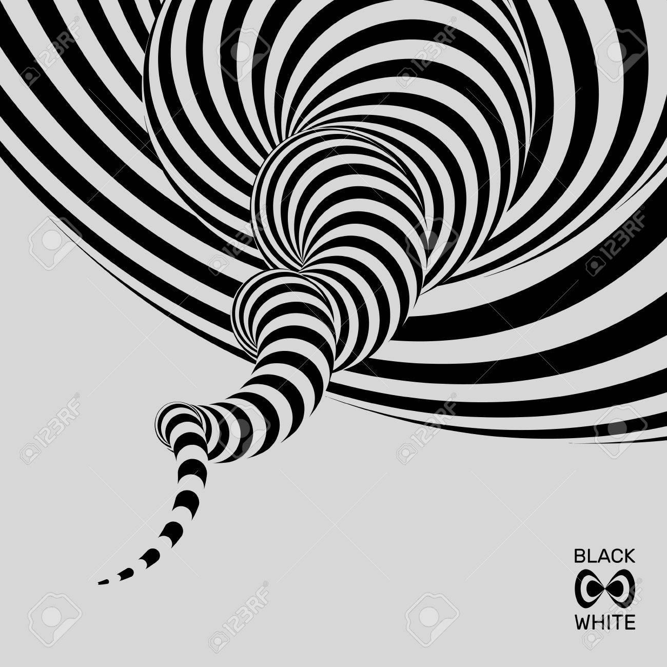 Tunnel abstract 3d geometrical background black and white design