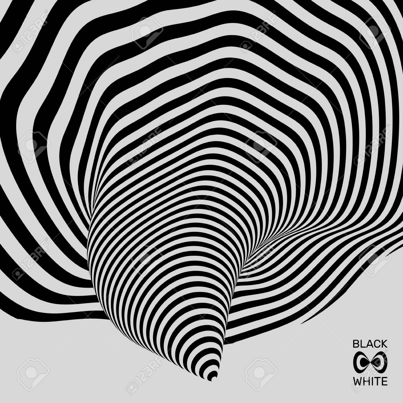 Tunnel abstract 3d geometrical background black and white design pattern with optical illusion