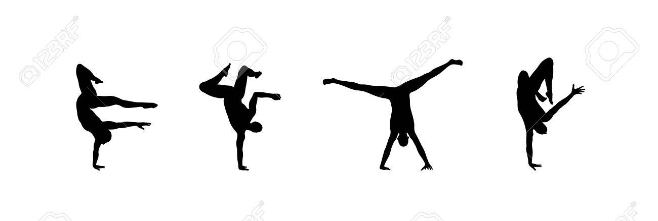 Silhouette Of A Dancer Gymnast Man Is Posing And Dancing Sport
