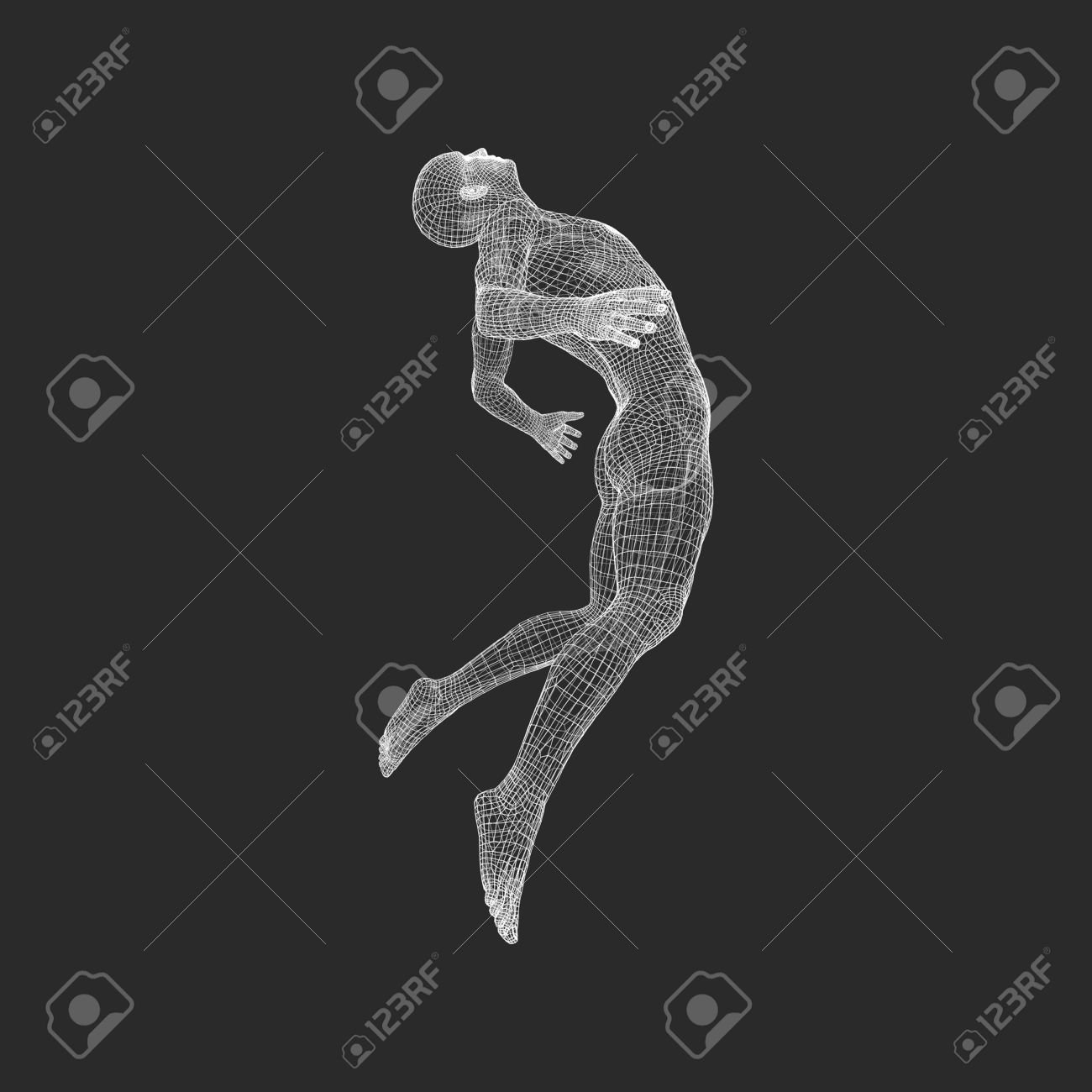 hovering in air man floating in the air 3d model of man human