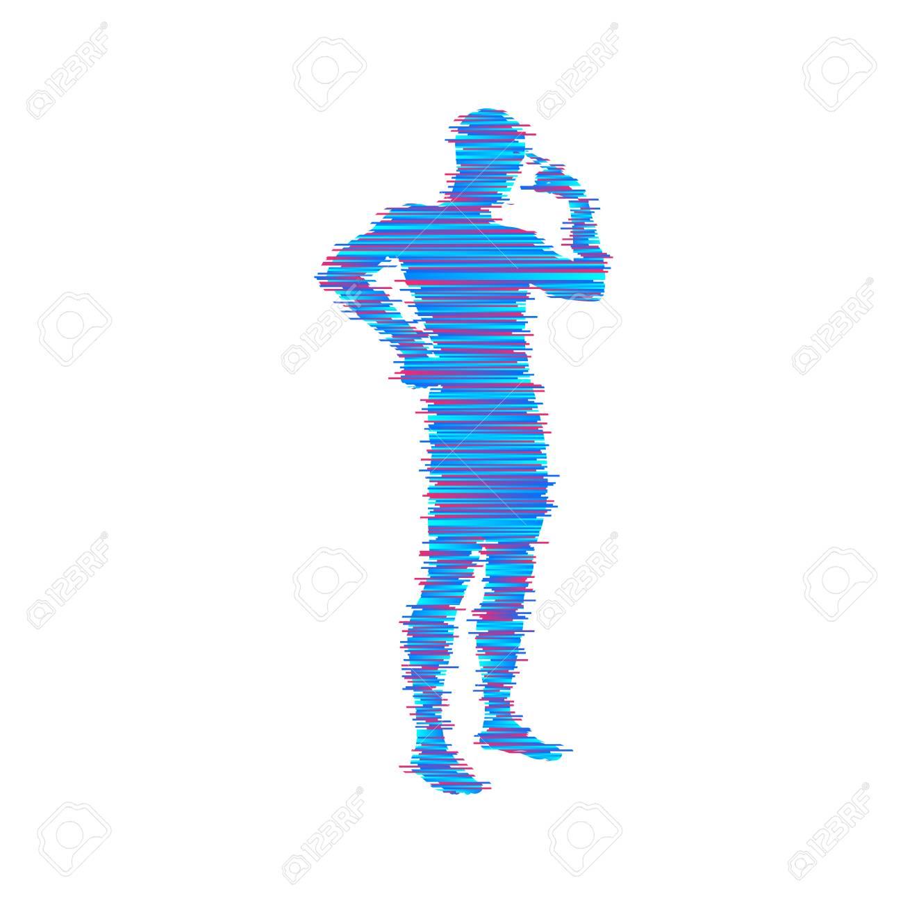 思考の男立っている人のシルエットアイデアの概念ベクトル イラスト