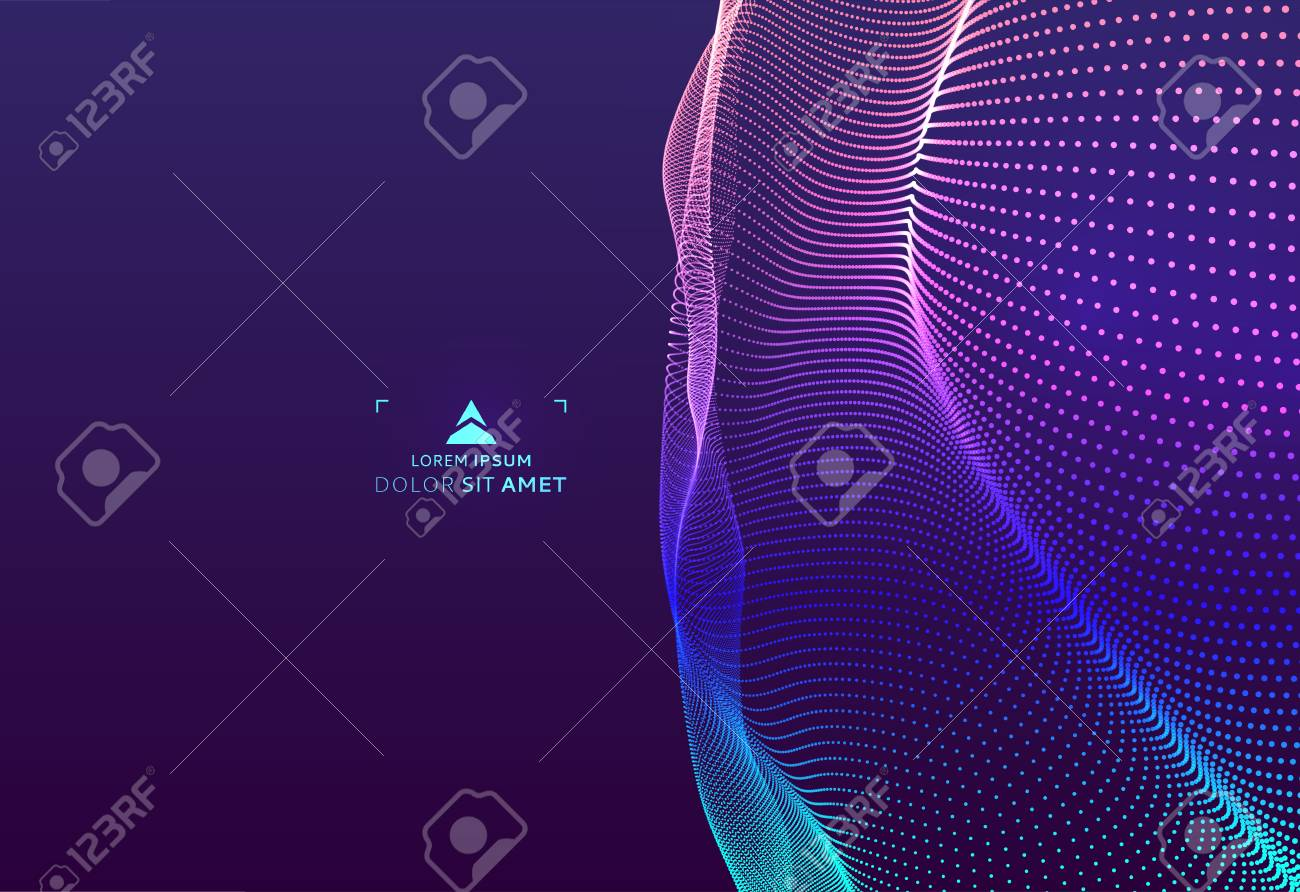 Abstract science or technology background. Graphic design. Network illustration with particle. 3D grid surface. - 114713941