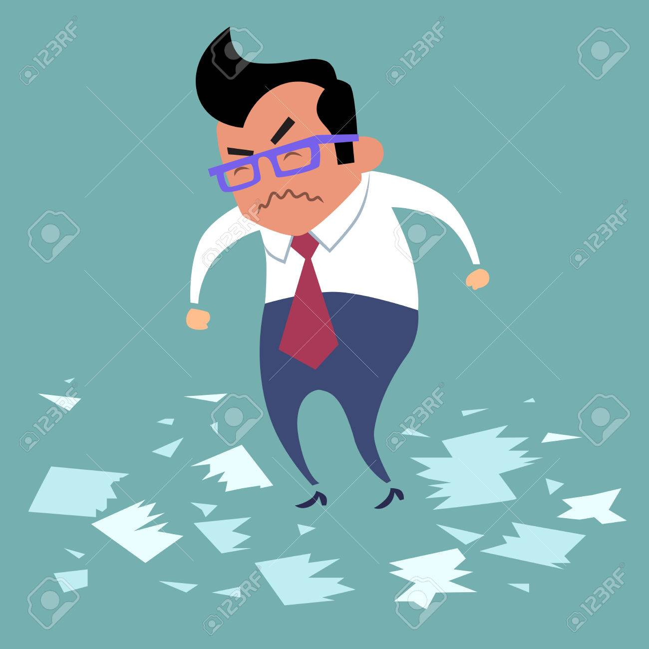 businessman angry office work boss torn documents a bad deal businessman angry office work boss torn documents a bad deal bad day stock vector