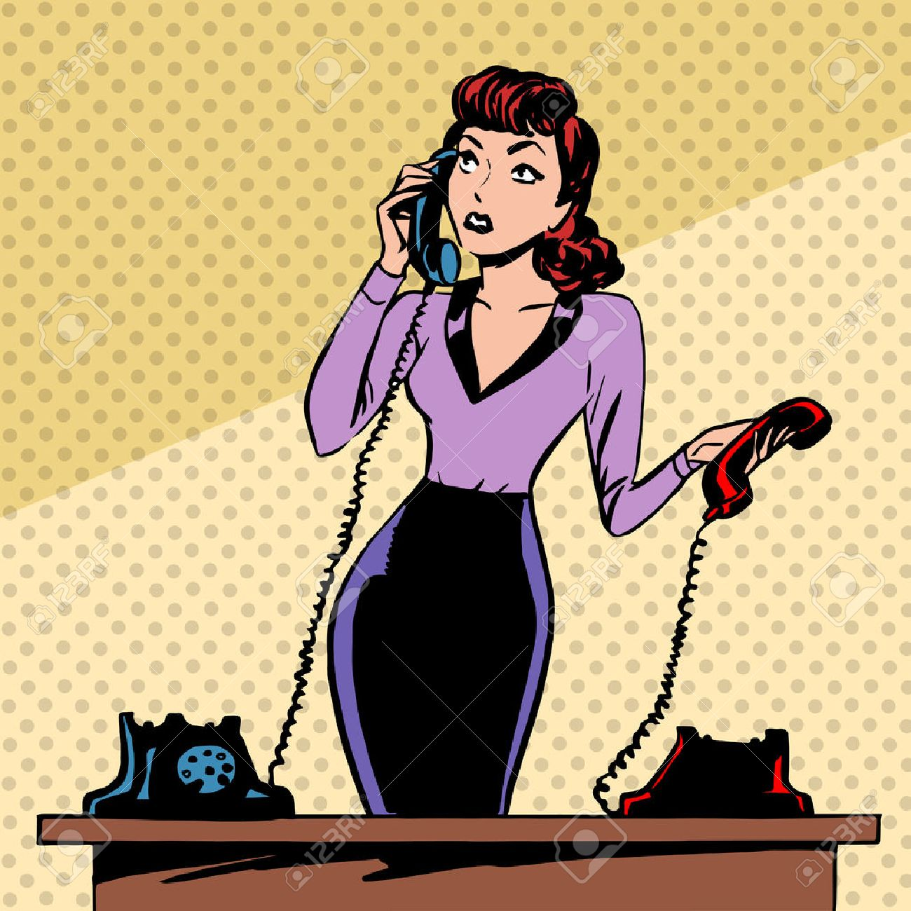 Girl Secretary answers the phone progress and communication technology pop art comics retro style Halftone. Imitation of old illustrations. The old woman lifts the handset and communicates with them - 38422541