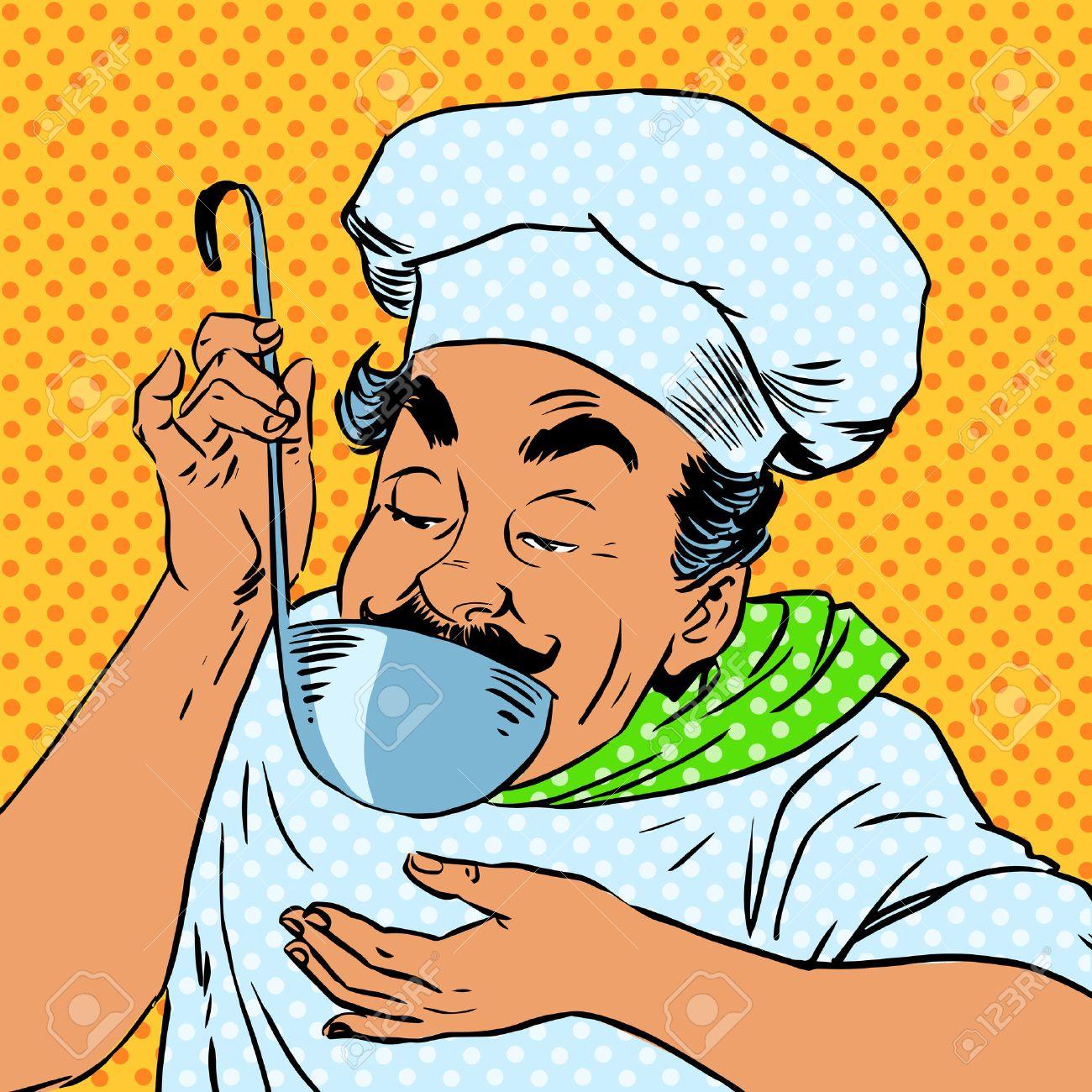 der kchenchef schmeckt das essen in der kche erwachsene mnnliche berufs bereitet das gericht - Schmcken Kleine Wohnkche