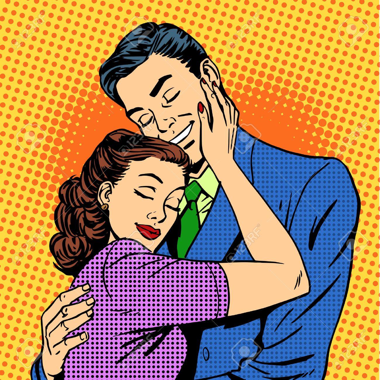 Couple in love hugging husband wife retro pop art love romance Stock Vector - 44649207