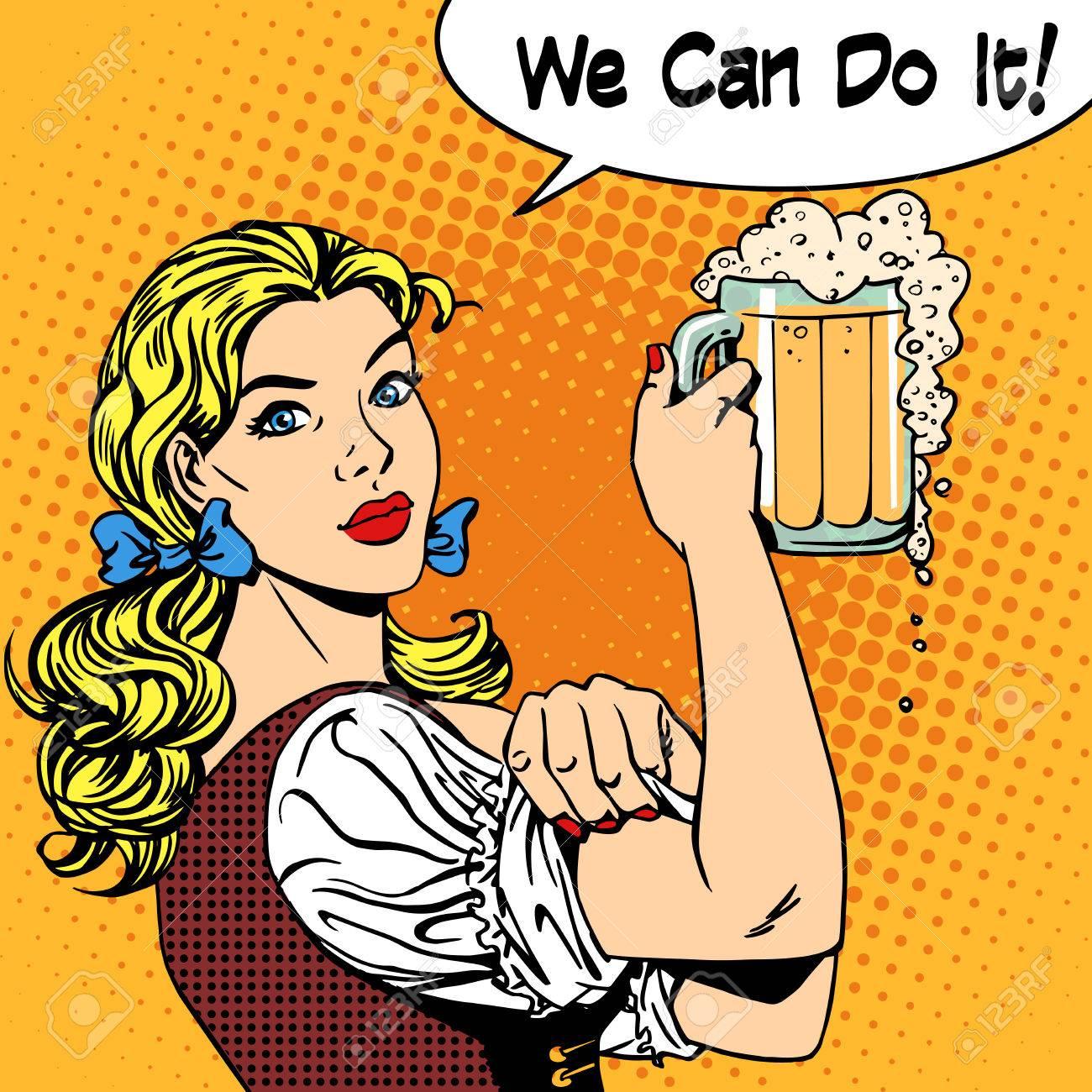 Mädchen Kellnerin Mit Bier Sagt, Dass Wir Es Schaffen Können ...