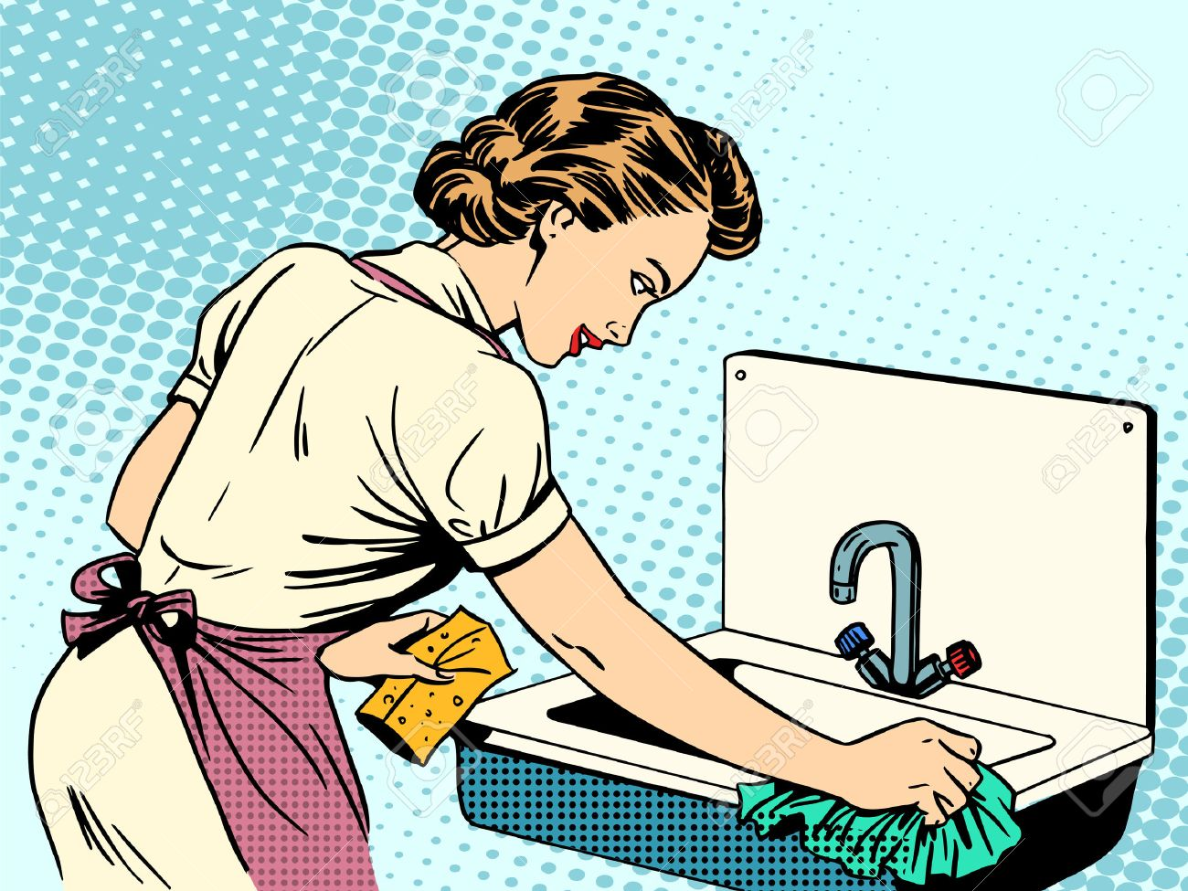 Clean bathroom sink clip art - Clean Kitchen Woman Cleans Kitchen Sink Cleanliness Housewife Housework Comfort Retro Style Pop Art