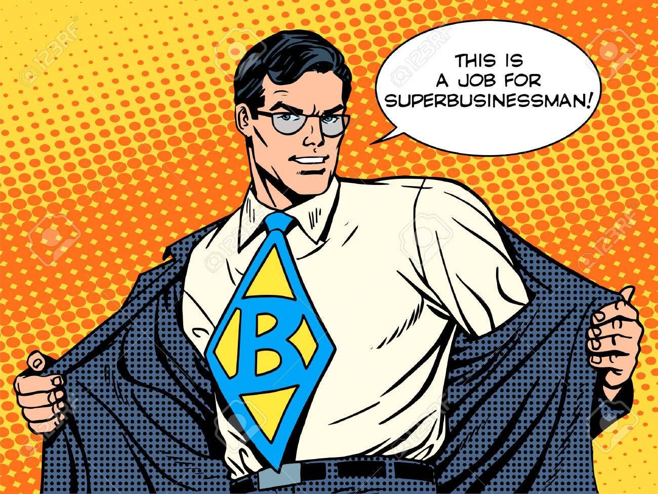job super businessman hero retro pop art style - 45630588