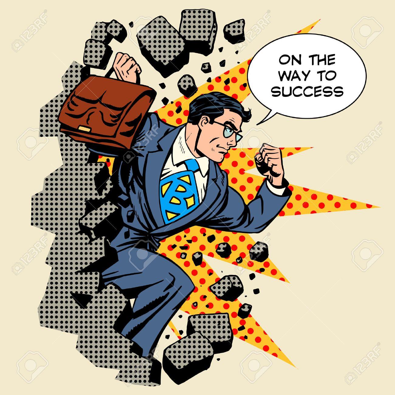 Business breakthrough success businessman hero breaks through the wall retro style pop art - 45630592
