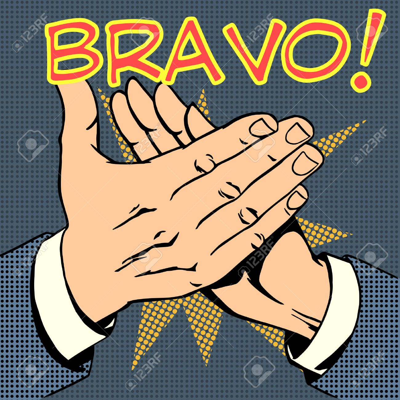 Image Bravo hands palm applause success text bravo retro style pop art royalty