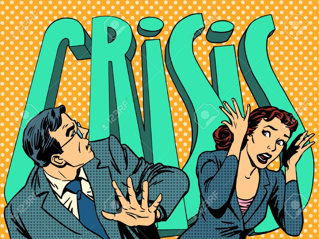 Businessman and businesswoman in panic of the financial crisis pop art retro style - 45686168