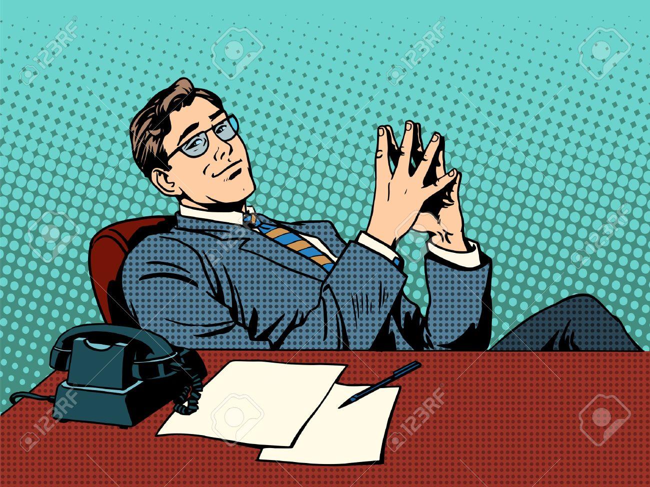 Ironic businessman boss. Business concept professional at work retro style pop art - 45686172