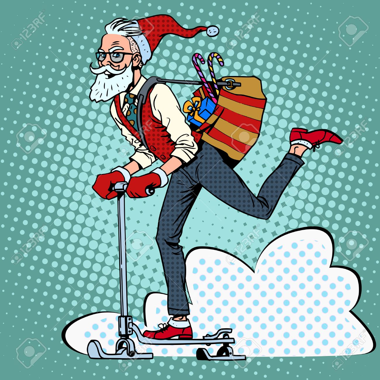 Hipster Santa Claus Spreads The Christmas Gifts On A Scooter ...